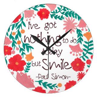 私は今日することを微笑することを何も有しません ラージ壁時計