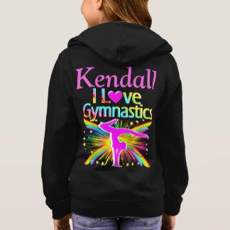 私は体操の名前入りなフード付きスウェットシャツを愛します パーカ