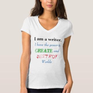 私は作家のV首です Tシャツ