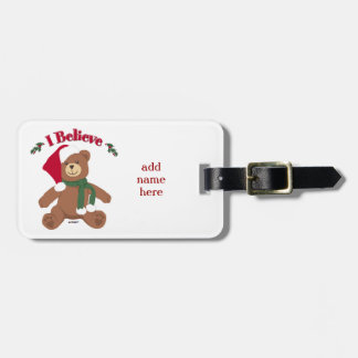 私は信じます! クリスマスのテディー・ベア ラゲッジタグ