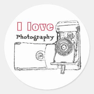 私は写真撮影のレトロのカメラを愛します ラウンドシール