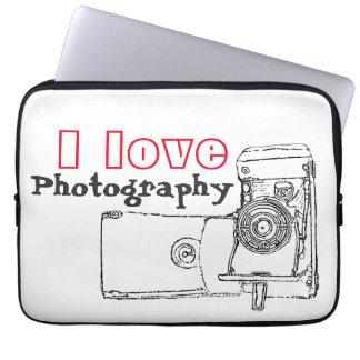 私は写真撮影のレトロのカメラを愛します ラップトップスリーブ