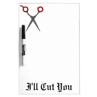 私は切ります(赤い毛の切断のはさみ) ホワイトボード