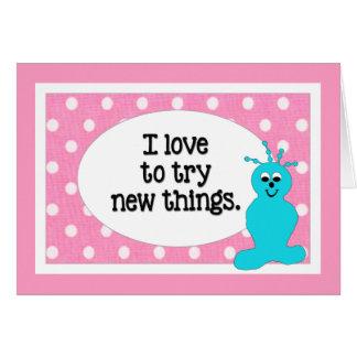 私は前向きな新しい事のピンクの水玉模様を試みることを愛します カード