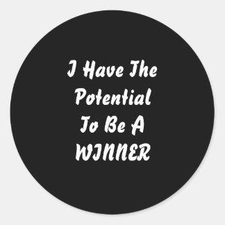 私は勝者である潜在性を有します。 白黒 ラウンドシール