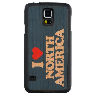 私は北アメリカを愛します CarvedチェリーGalaxy S5スリムケース