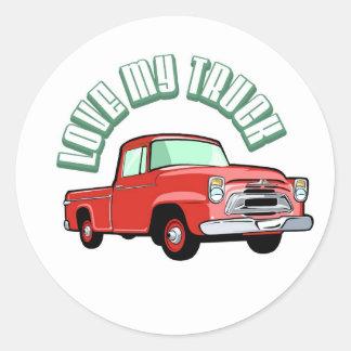 私は古い私のトラック-クラシックで赤い積み込み--を愛します ラウンドシール
