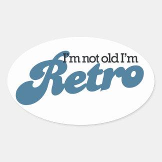 私は古くないです私ですレトロ 楕円形シール