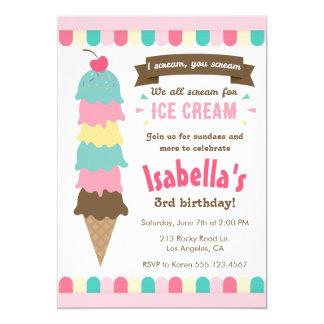 私は叫びのアイスクリームの誕生日の招待状叫びます カード
