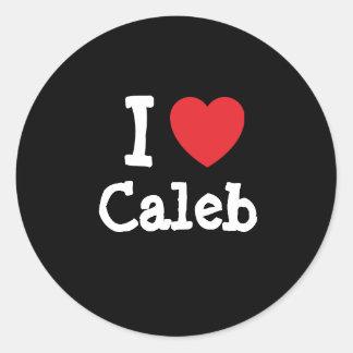 私は名前入りなCalebのハートのカスタムを愛します ラウンドシール