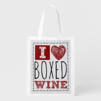 私は囲まれたワインの有刺鉄線のハートを愛します エコバッグ
