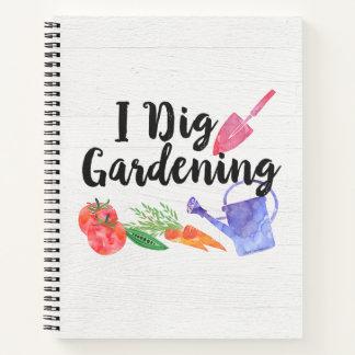 私は園芸かわいい庭のギフトの庭師を掘ります ノートブック