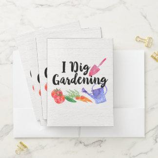 私は園芸かわいい庭のギフトの庭師を掘ります ポケットフォルダー