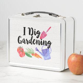 私は園芸かわいい庭のギフトの庭師を掘ります メタルランチボックス