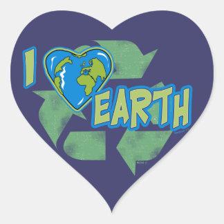 私は地球のリサイクルのステッカーを愛します ハートシール
