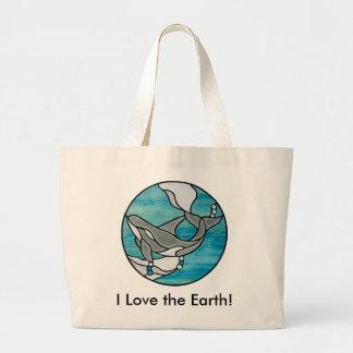 私は地球を愛します! トートの買い物袋 ラージトートバッグ