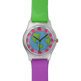 私は地球12のピンクのハートの調節可能なスポーツの腕時計を愛します 腕時計