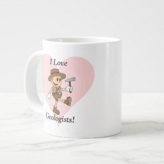 私は地質学者を愛します! ジャンボコーヒーマグカップ