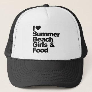 私は夏のビーチの女の子および食糧を愛します キャップ