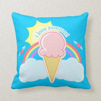 """""""私は夏""""のアイスクリームコーン愛します クッション"""