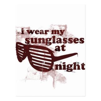 私は夜に私のサングラスを身に着けています ポストカード