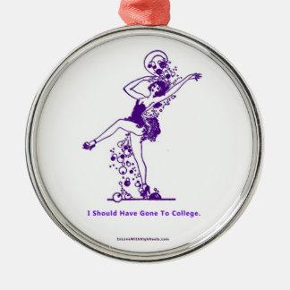 私は大学に行くべきです シルバーカラー丸型オーナメント