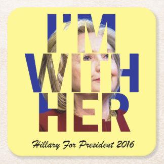 私は大統領のための彼女のヒラリーとあります スクエアペーパーコースター