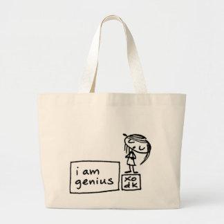 私は天才です ラージトートバッグ