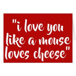 私は好みますマウス愛チーズを愛します カード