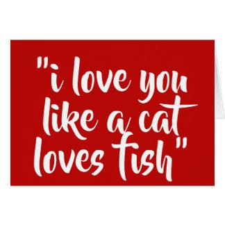 私は好みます猫愛魚を愛します カード
