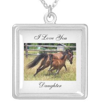 私は娘の馬のネックレス愛します シルバープレートネックレス