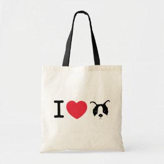 私は子犬のトートを愛します トートバッグ