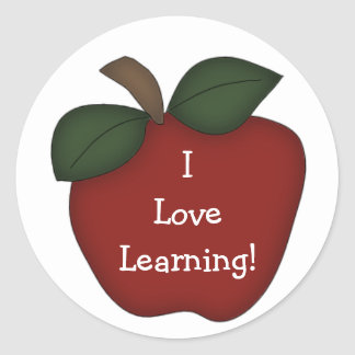 私は学ぶことを愛します! -赤いApple ラウンドシール