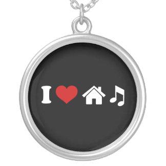 私は家音楽を愛します シルバープレートネックレス