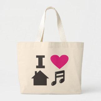 私は家音楽を愛します ラージトートバッグ