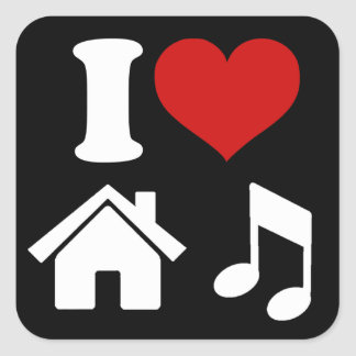 私は家音楽を愛します 正方形シール・ステッカー