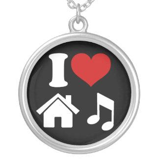 私は家音楽ネックレスを愛します シルバープレートネックレス