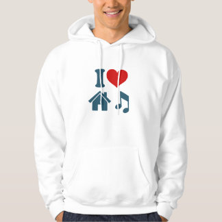 私は家音楽フード付きスウェットシャツ| Ibizaのギフトを愛します パーカ