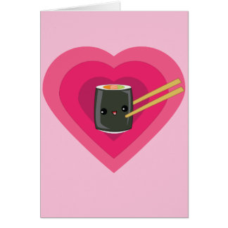 私は寿司のかわいいの寿司ロールメッセージカードを愛します カード