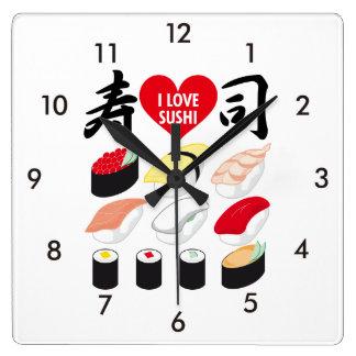 私は寿司を愛します スクエア壁時計