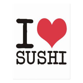 私は寿司-ワイン-を茶プロダクト及びデザイン愛します! ポストカード