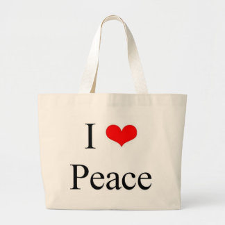 私は平和を愛します ラージトートバッグ