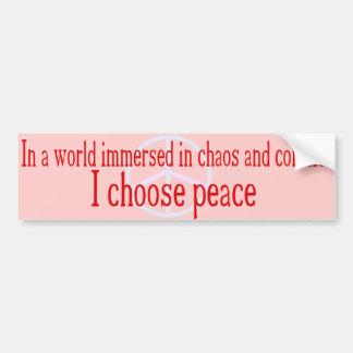 私は平和バンパーステッカーを選びます バンパーステッカー