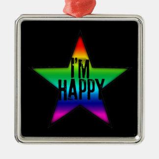 私は幸せで陽気なレズビアンの虹の正方形Bのオーナメントです メタルオーナメント