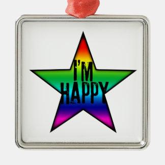 私は幸せな-ゲイ・レズビアンの虹-オーナメントです メタルオーナメント