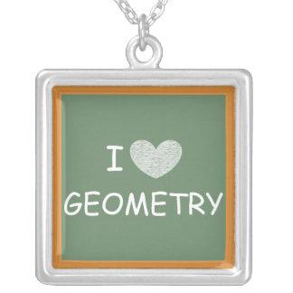 私は幾何学を愛します シルバープレートネックレス