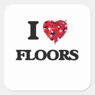 私は床を愛します 正方形シールステッカー