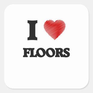 私は床を愛します 正方形シール・ステッカー