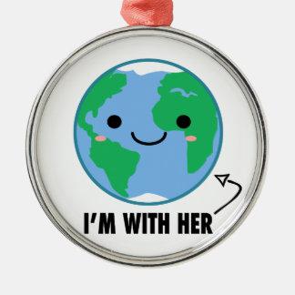 私は彼女と-惑星のアースデーです メタルオーナメント