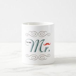 私は彼女の氏ですMustache Wedding Engagement Type コーヒーマグカップ